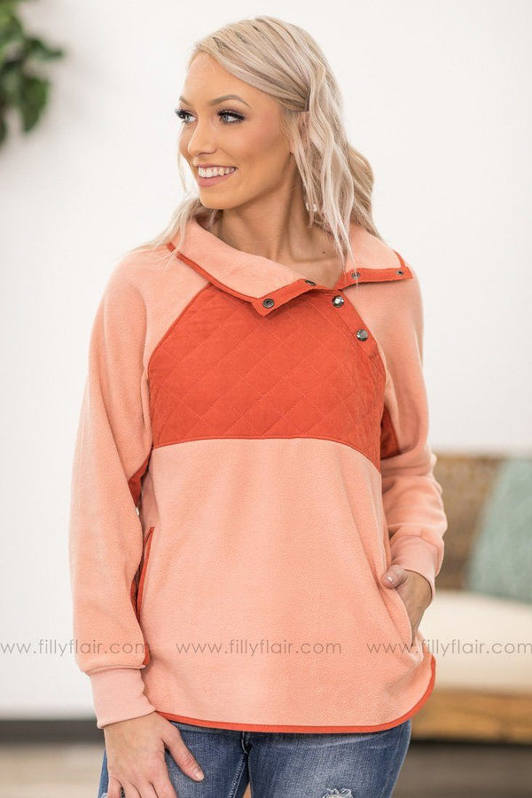 See You Around Long Sleeve Quilted Contrast Pullover in Salmon - Filly Flair