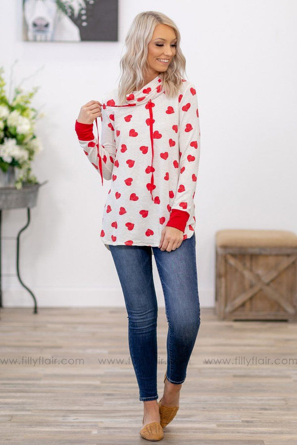 Queen of Hearts Long Sleeve Cowl Neck Top in Oatmeal - Filly Flair