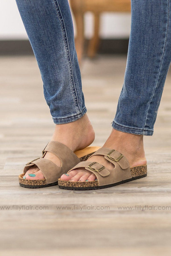 Draw You In Double Strap Sandals in Taupe - Filly Flair