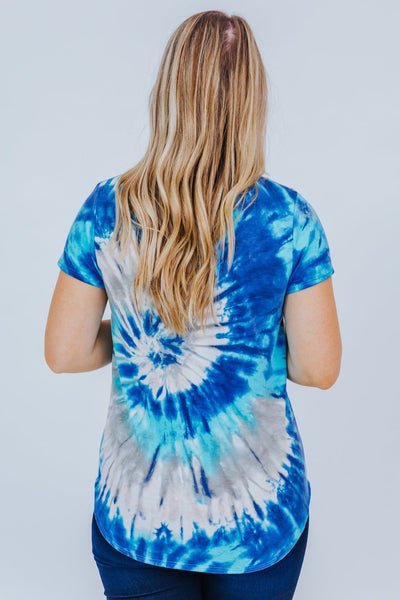Take Me With You Tie Dye Top in Blue - Filly Flair