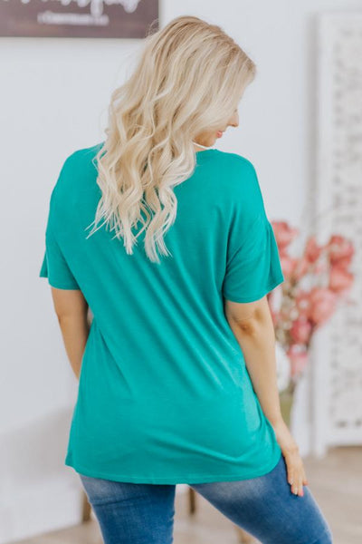 Arizona Moments Cactus Graphic Short Sleeve Top in Turquoise - Filly Flair