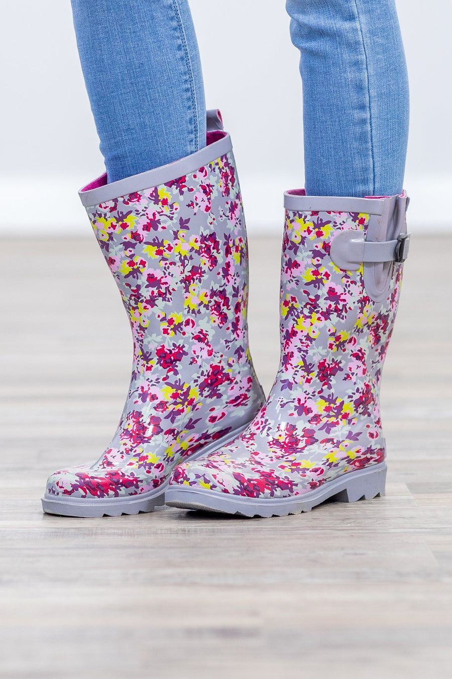 a7d574f30df9 Splash In Puddles Floral Rain Boots in Grey