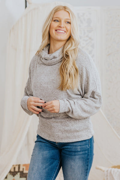 *DEAL* Ignite The Light Cowl Neck Long Sleeve Dolman Top in Heathered Grey - Filly Flair