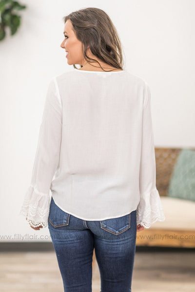 Love Me Long Bell Sleeve Crochet Lace Detail Front Tie Top in White - Filly Flair