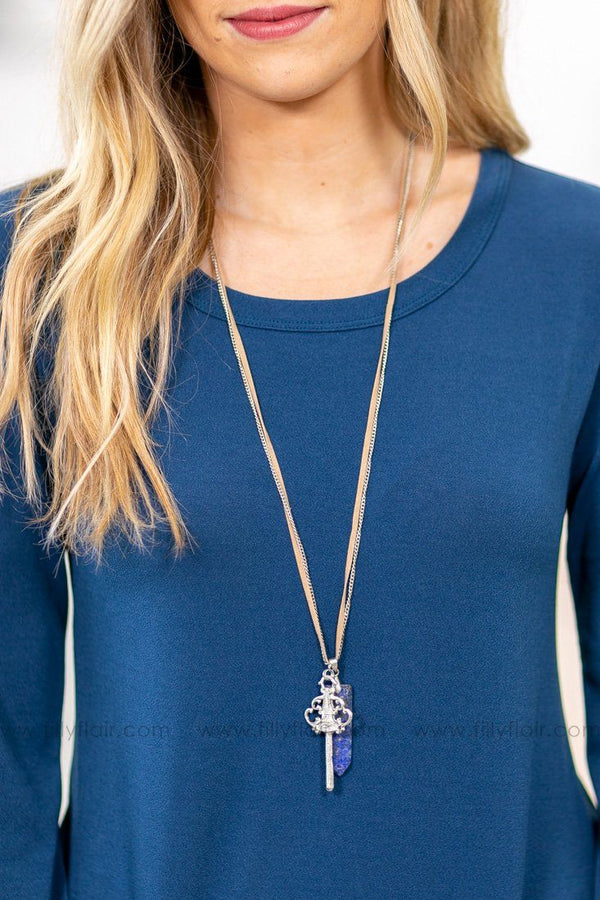 Key To My Heart Blue Stone Layered Silver Necklace - Filly Flair