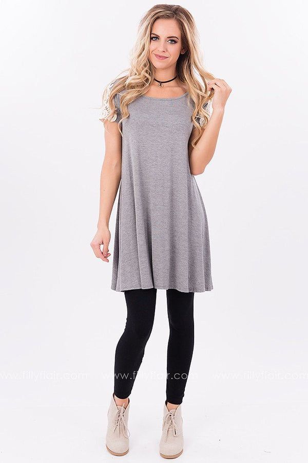 All the Right Lace Tunic in Grey