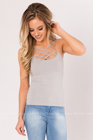 Reversible Caged Tank Top in Grey