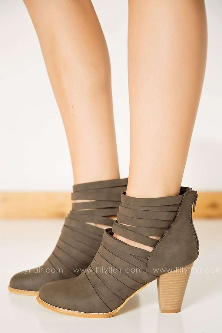 Feeling Strappy Booties in Dark Grey