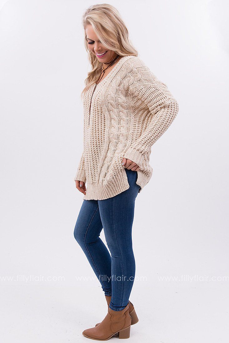 Good Natured Sweater with Criss Cross Back