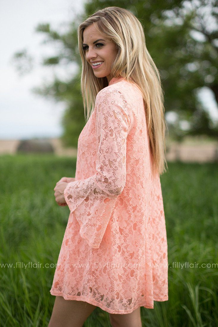 Love and Peace Dress in Peach