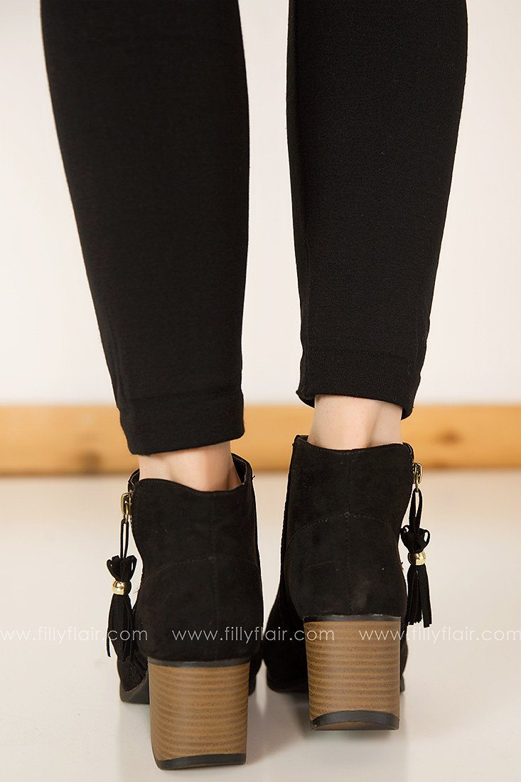Shifting Gears Peep Toe Booties in Black