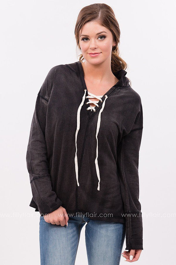 On Vacation Lace up Hoodie in Charcoal