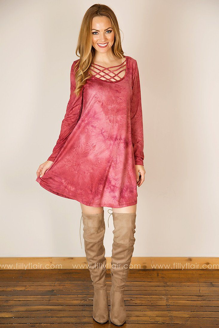 Free Spirit Long Sleeve Criss Cross Dress in Pink