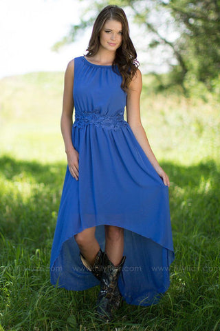 Catherine High Low Bridesmaid Dress in Blue
