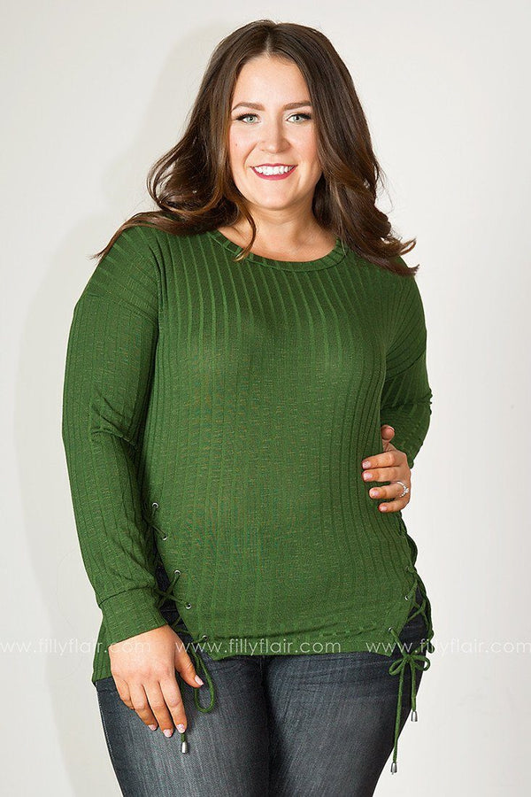 Easy Afternoon Lace-Up Long Sleeve Top in Olive
