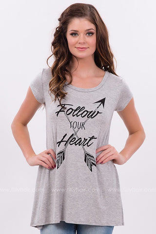 Follow Your Heart Tee in Heather Grey
