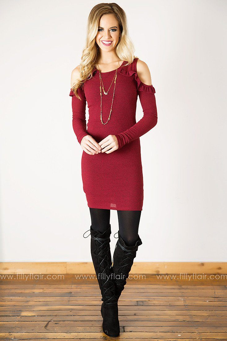 Lovely Lady Ruffle Long Sleeve Cold Shoulder Dress in Burgundy