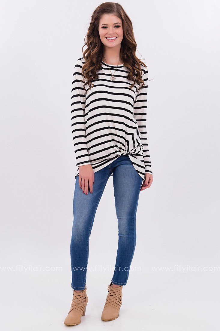 Sail Away Striped Knot Top in Ivory