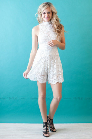 Gone with the Wind Lace Romper in Ivory