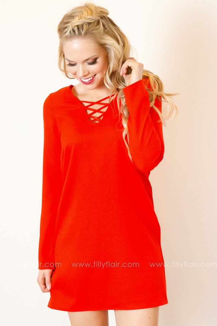 Look Again Long Sleeve Dress in Candy Apple Red