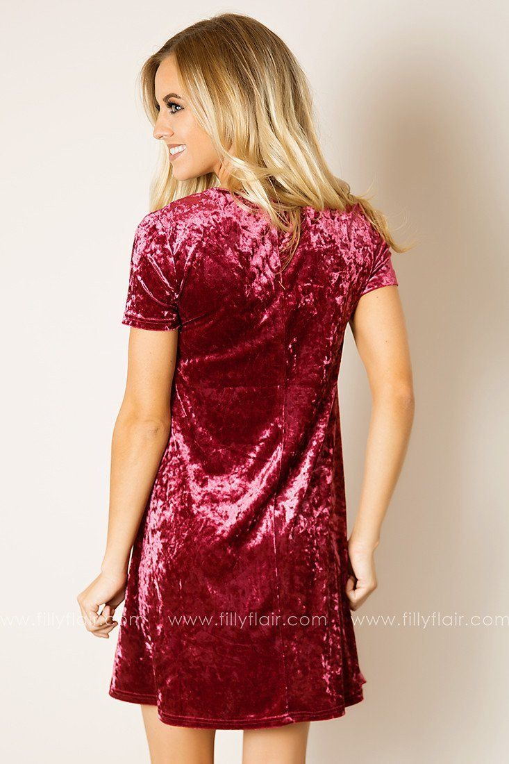 Velvet Heart Lace Up Dress in Wine