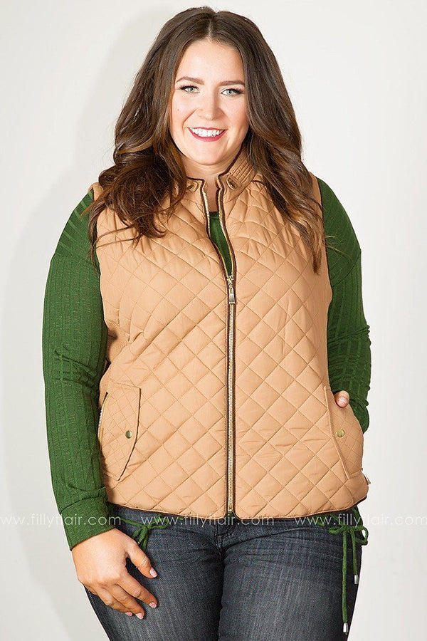 Quilted Bliss Vest in Camel