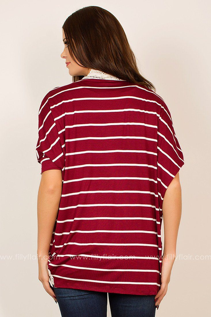 Feels Like Home Burgundy and White Striped Cardigan