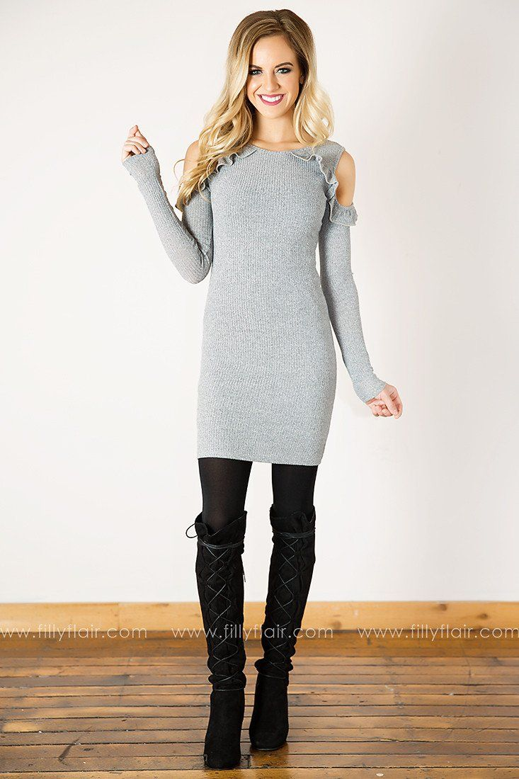 Lovely Lady Ruffle Long Sleeve Cold Shoulder Dress in Grey