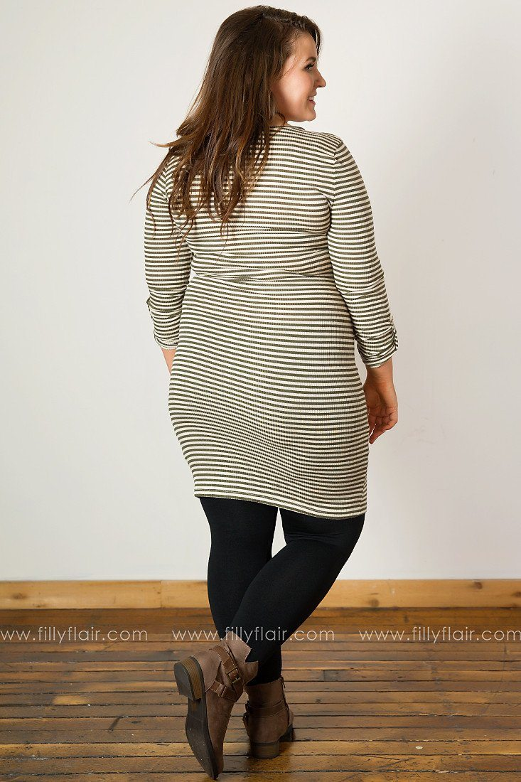 Modern Love Striped Zip Collar Long Sleeve in Olive and Cream