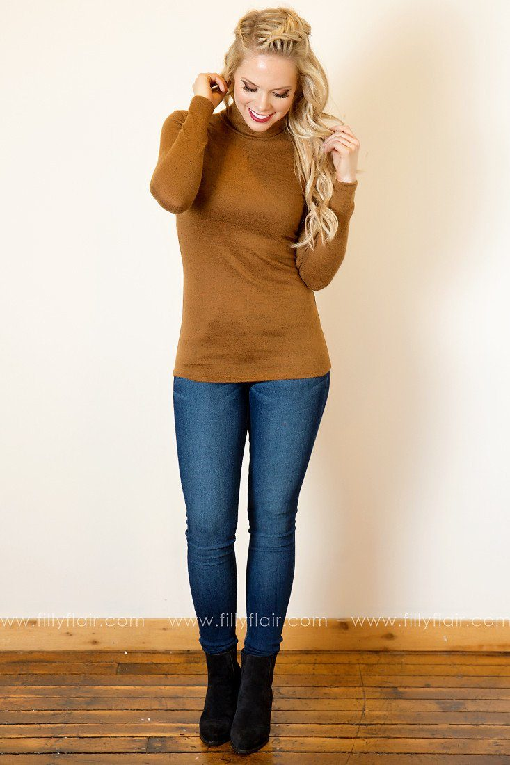 Chic Silhouette Long Sleeve Turtleneck Top in Ginger