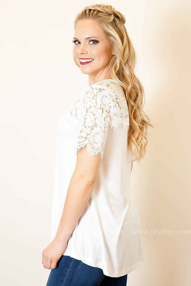 Cherished Love Lace Yoke Top in White