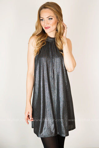 Confidently You Halter Dress in Gunmetal
