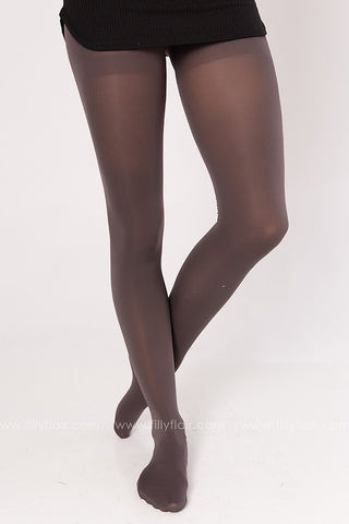 Classic High Waisted Pantyhose in Grey