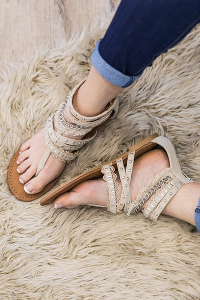 Laughter Is Timeless Gladiator Sandal In Cream - Filly Flair