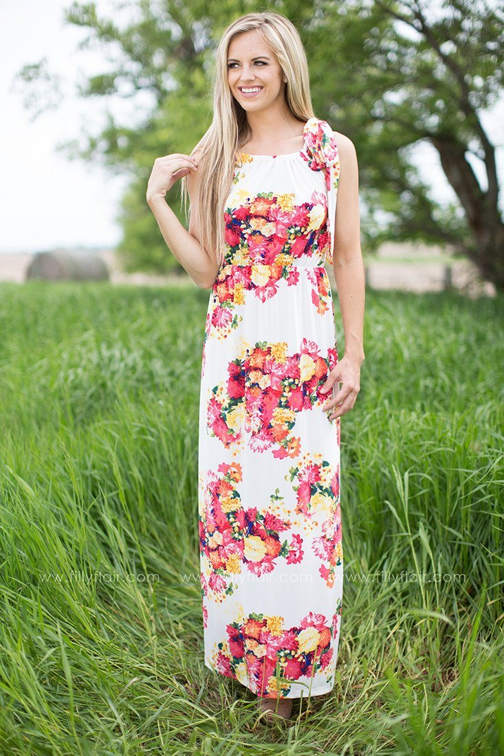 Keep it Floral Maxi Dress in White