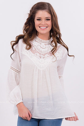 Exquisite Lace Yoke Top in White