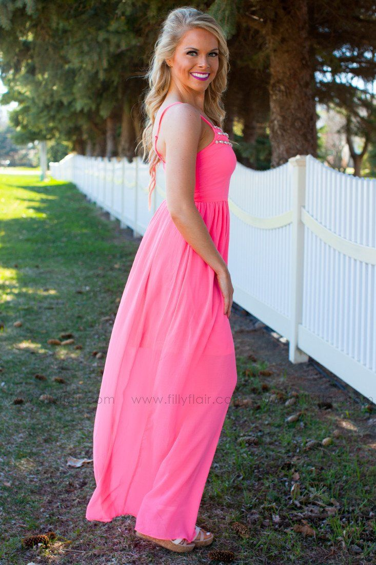 Bright Like a Diamond Maxi Dress in Neon Pink