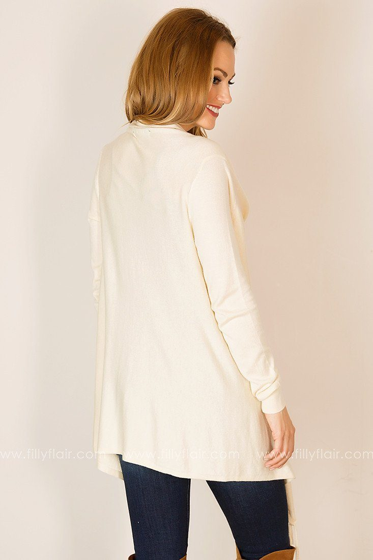 Peaceful Moment Drape Front Cardigan in Ivory