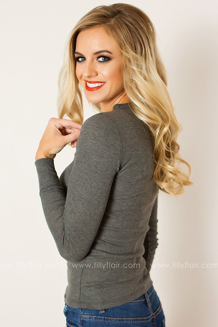 Feel Good Long Sleeve Henley in Charcoal