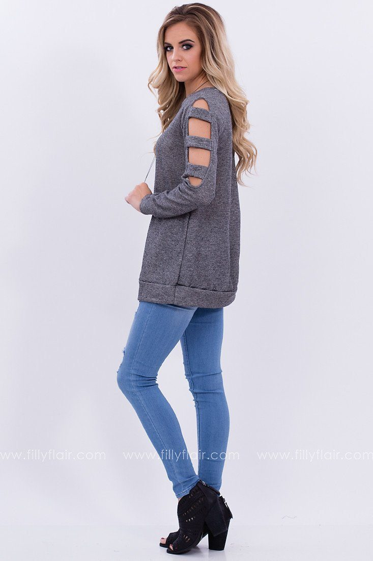Cold Shoulder Top in Grey