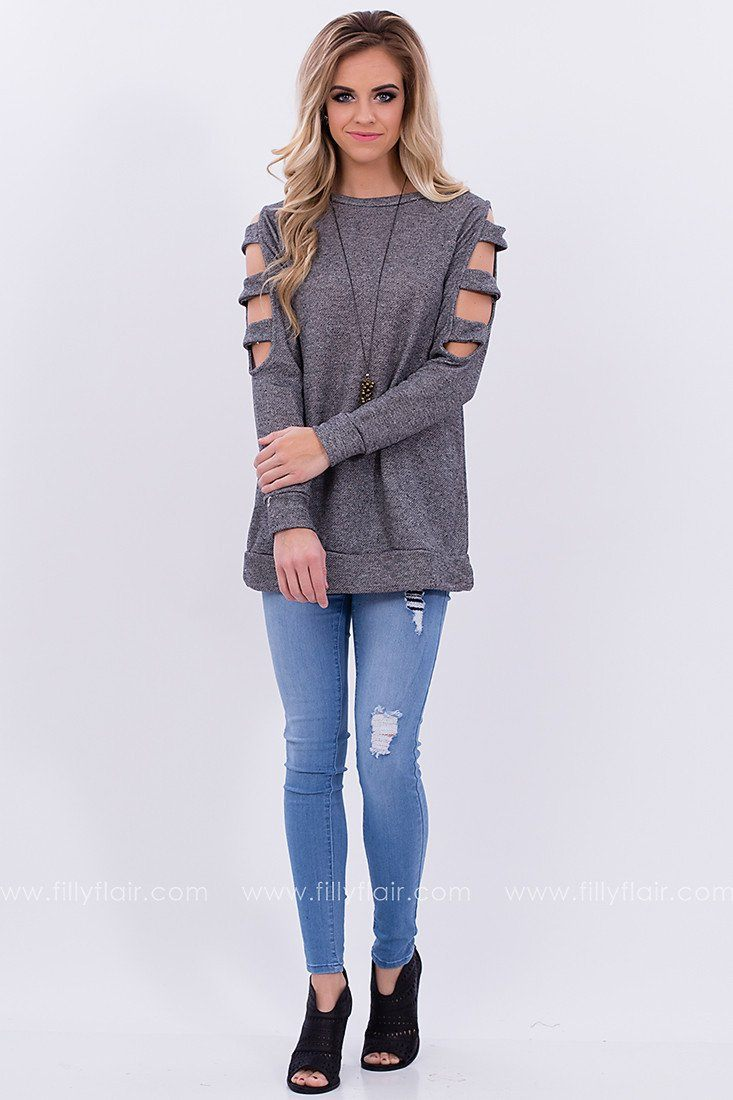 Cut Out Top in Grey