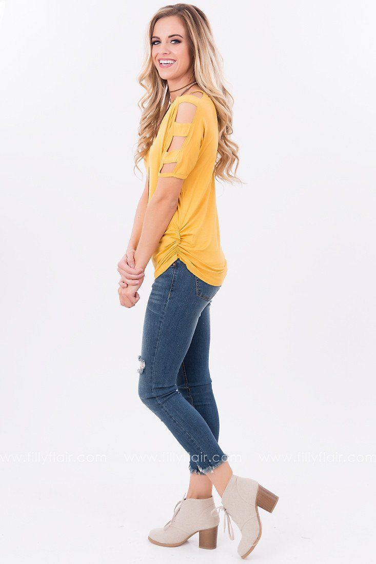 Positive Vibes Open Shoulder Top in Goldenrod