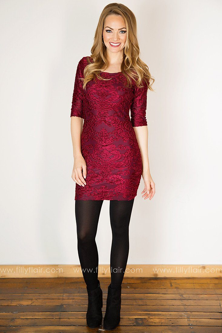 Country Grace 3/4 Sleeve Dress in Burgundy