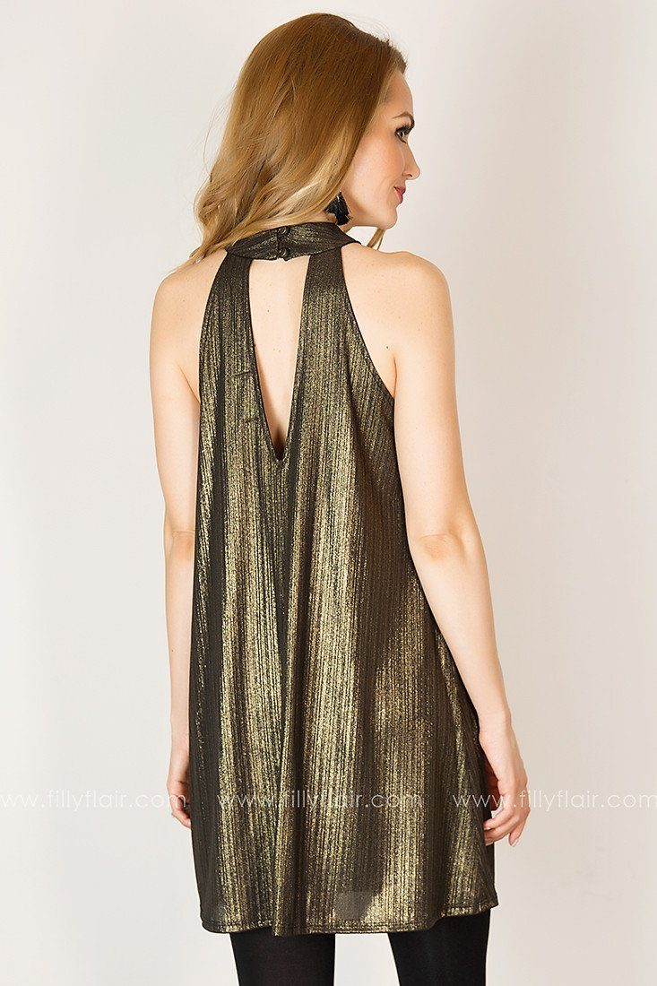 Confidently You Halter Dress in Gold