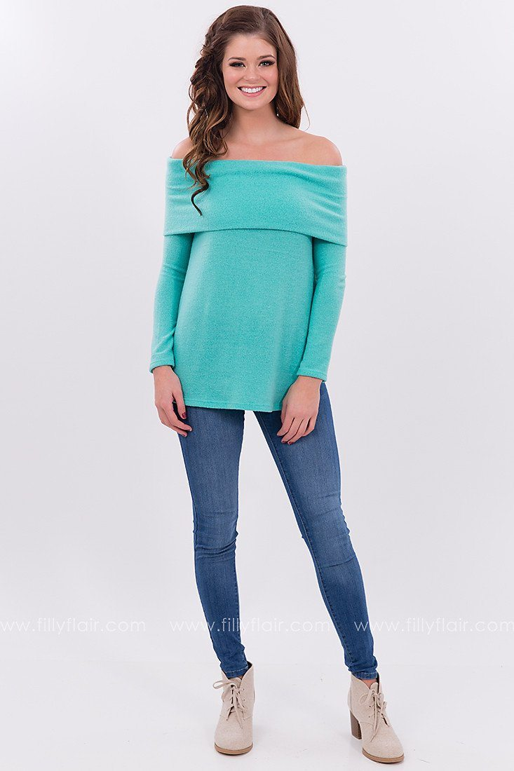 Emerald Isle Off the Shoulder Sweater in Teal