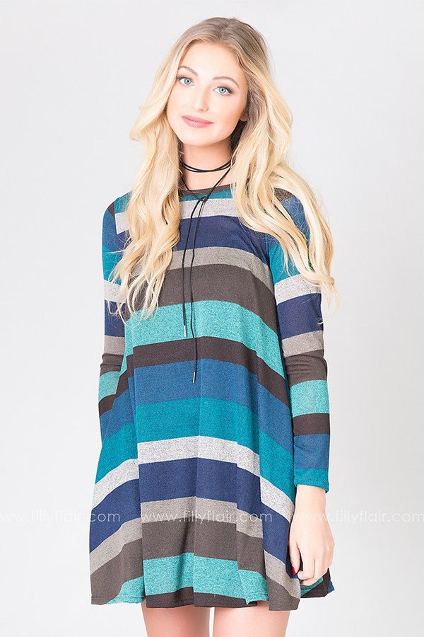 Pleasantries Striped Long Sleeve Dress in Blues