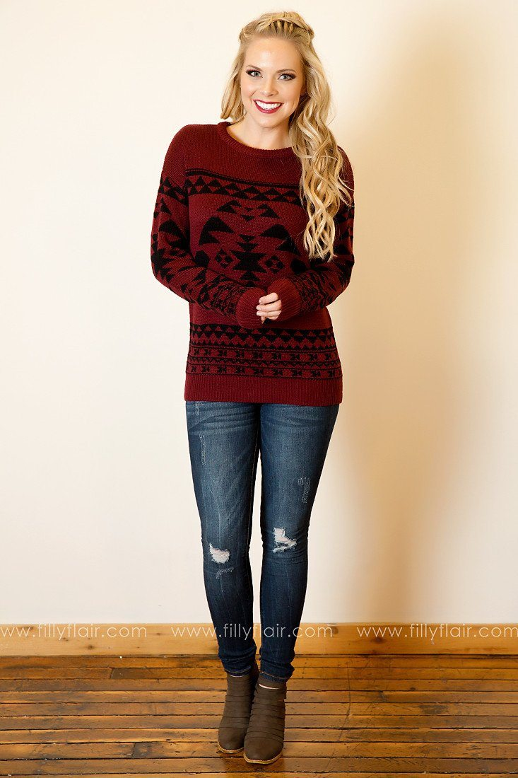 Believe it or Not Tribal Jacquard Sweater in Burgundy