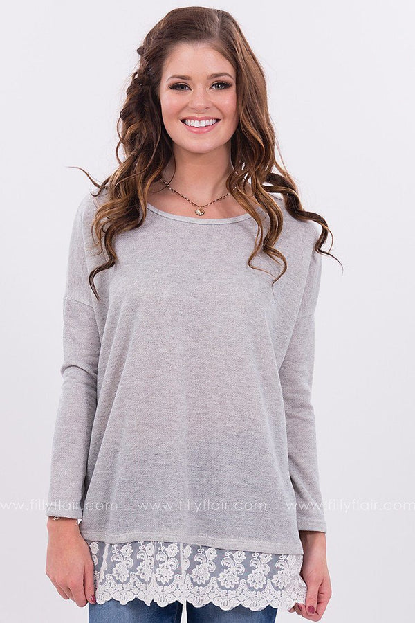 Touch of Grace Top with Lace Hem in Grey