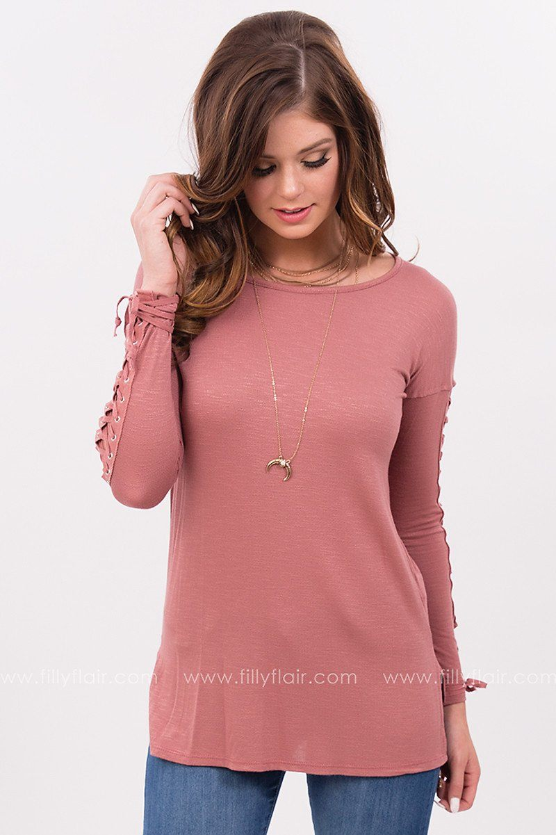 At Your Best Long Sleeve Top with Lace Up Sleeves in Mauve