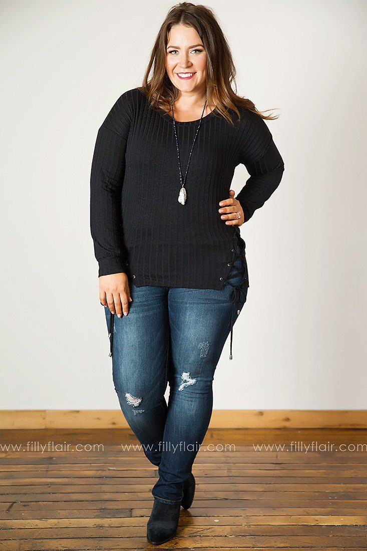 Easy Afternoon Lace-Up Long Sleeve Top in Black